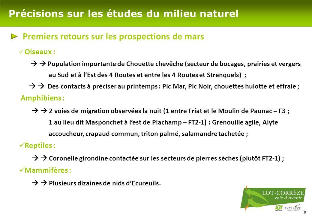 8 Précisions sur les études du milieu naturel Premiers retours sur les prospections de mars Oiseaux :   Population importante de Chouette chevêche (