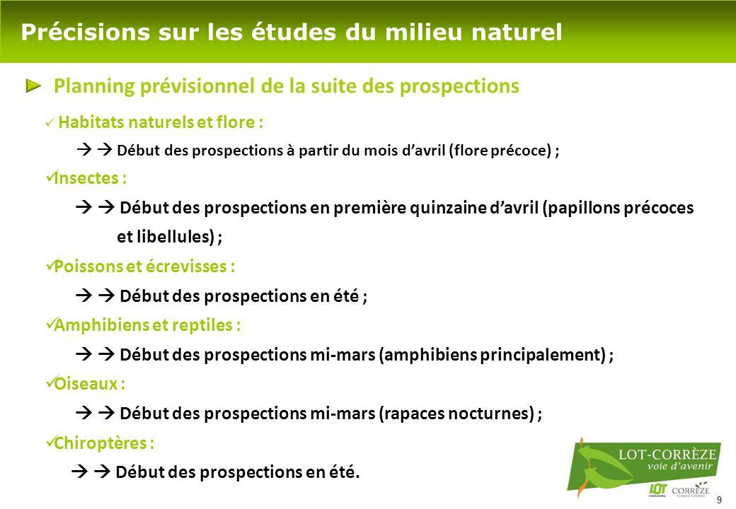 9 Précisions sur les études du milieu naturel Planning prévisionnel de la suite des prospections Habitats naturels et flore :   Début des prospectio