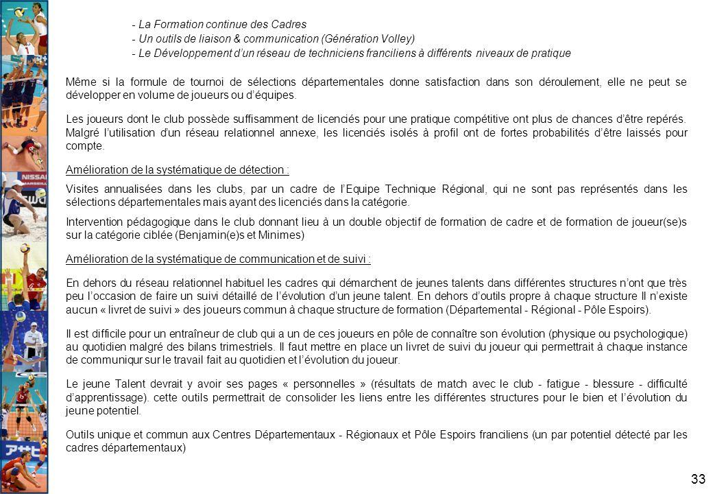 33 - La Formation continue des Cadres - Un outils de liaison & communication (Génération Volley) - Le Développement d'un réseau de techniciens francil