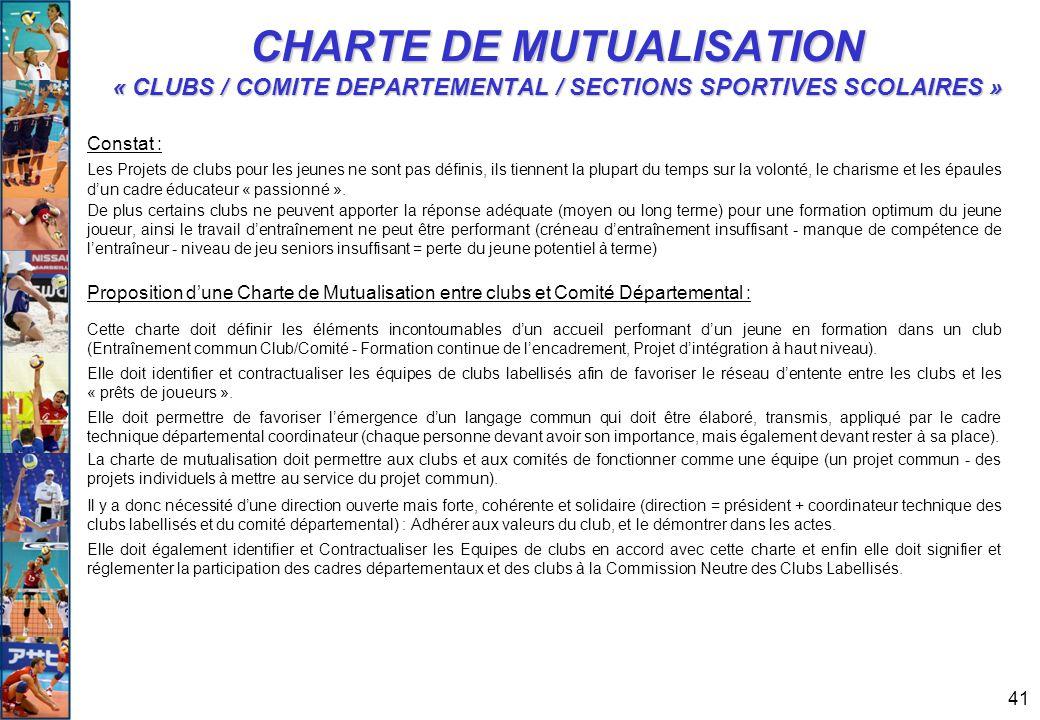 41 CHARTE DE MUTUALISATION « CLUBS / COMITE DEPARTEMENTAL / SECTIONS SPORTIVES SCOLAIRES » Constat : Les Projets de clubs pour les jeunes ne sont pas