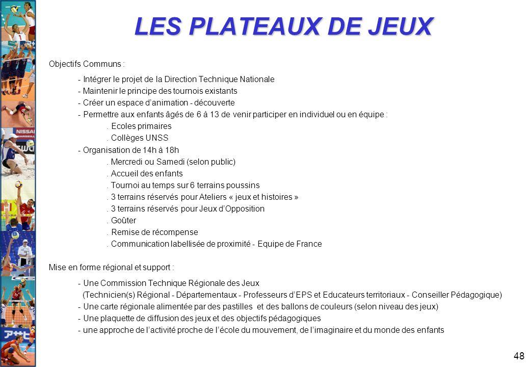48 LES PLATEAUX DE JEUX Objectifs Communs : - Intégrer le projet de la Direction Technique Nationale - Maintenir le principe des tournois existants -