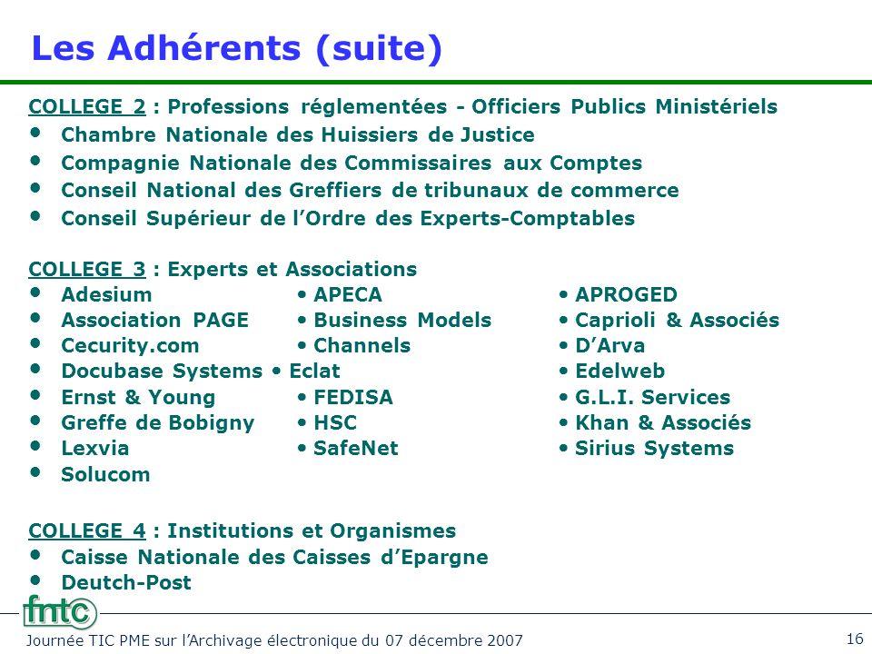 Journée TIC PME sur l'Archivage électronique du 07 décembre 2007 16 Les Adhérents (suite) COLLEGE 2 : Professions réglementées - Officiers Publics Min