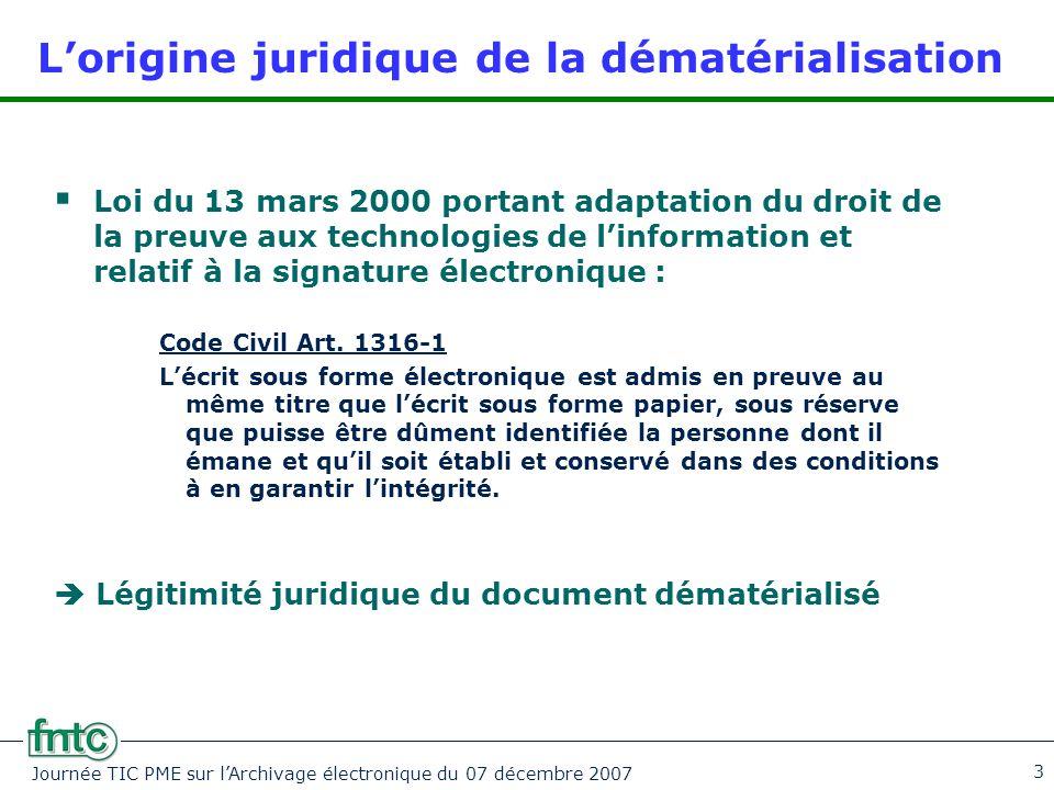 Journée TIC PME sur l'Archivage électronique du 07 décembre 2007 3 L'origine juridique de la dématérialisation  Loi du 13 mars 2000 portant adaptatio