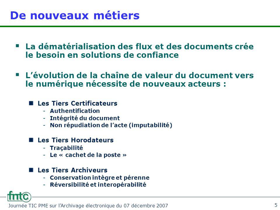 Journée TIC PME sur l'Archivage électronique du 07 décembre 2007 5 De nouveaux métiers  La dématérialisation des flux et des documents crée le besoin