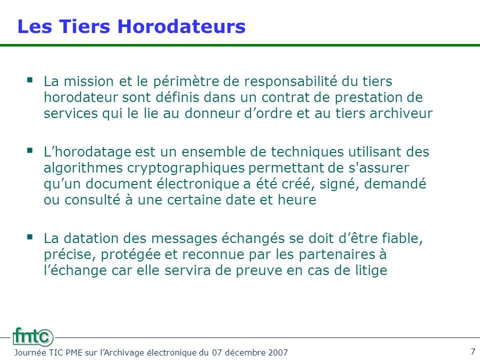 Journée TIC PME sur l'Archivage électronique du 07 décembre 2007 7 Les Tiers Horodateurs  La mission et le périmètre de responsabilité du tiers horod