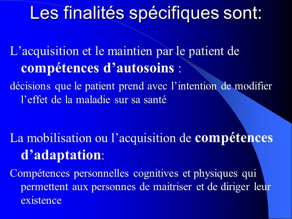 Les finalités spécifiques sont: L'acquisition et le maintien par le patient de compétences d'autosoins : décisions que le patient prend avec l'intenti