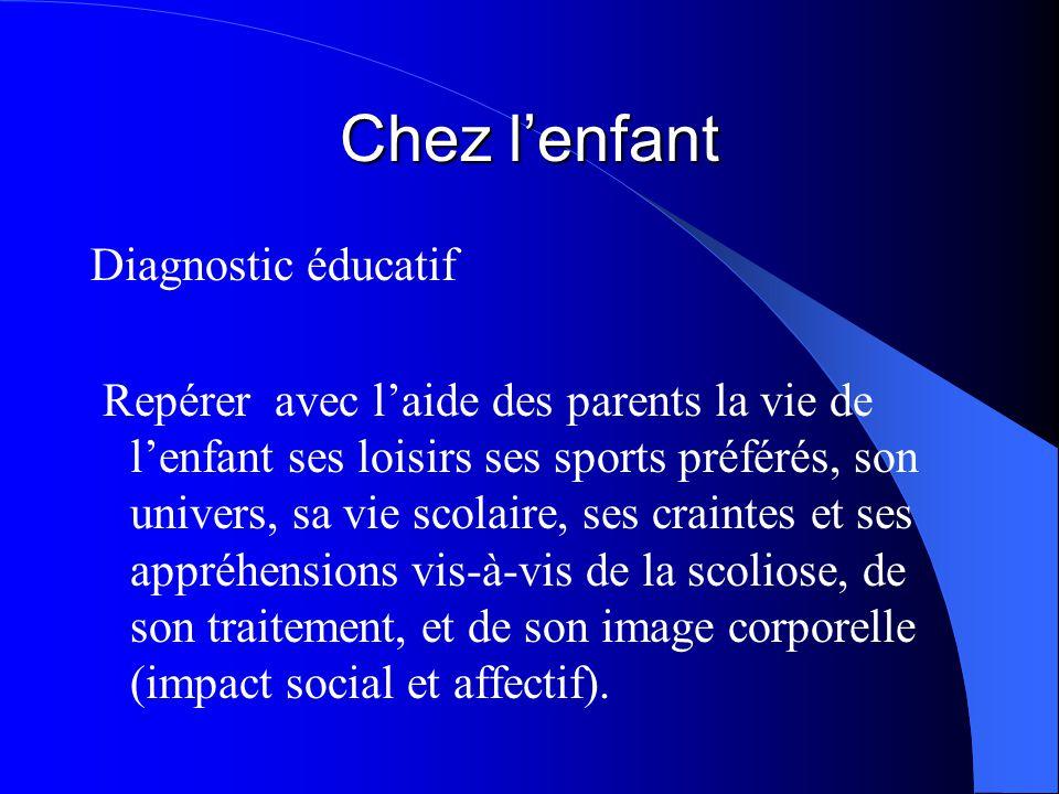 Chez l'enfant Diagnostic éducatif Repérer avec l'aide des parents la vie de l'enfant ses loisirs ses sports préférés, son univers, sa vie scolaire, se