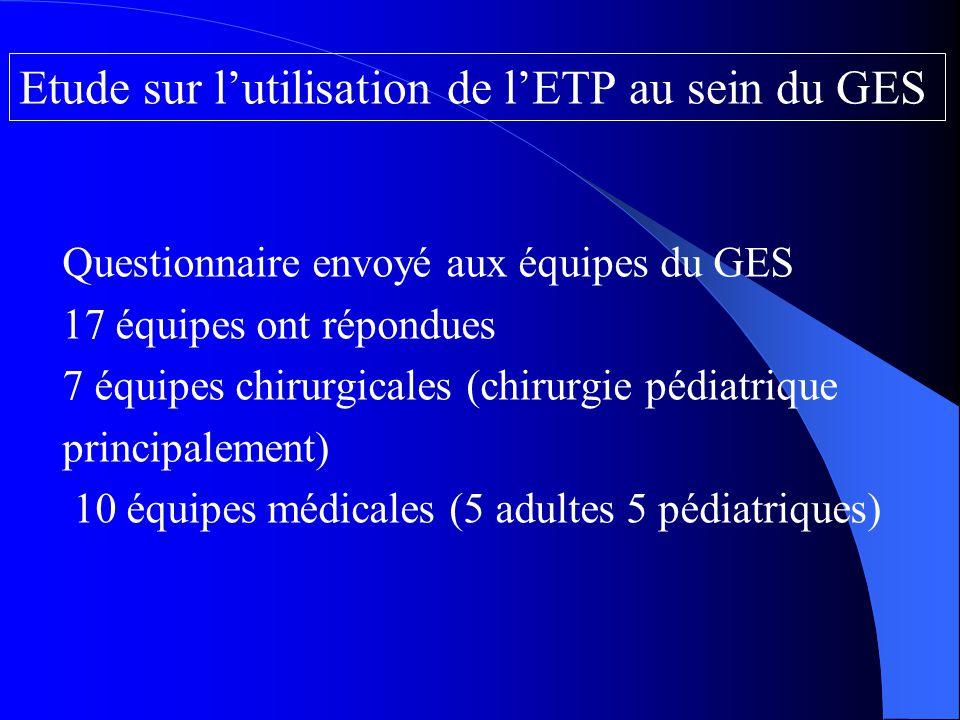 Questionnaire envoyé aux équipes du GES 17 équipes ont répondues 7 équipes chirurgicales (chirurgie pédiatrique principalement) 10 équipes médicales (