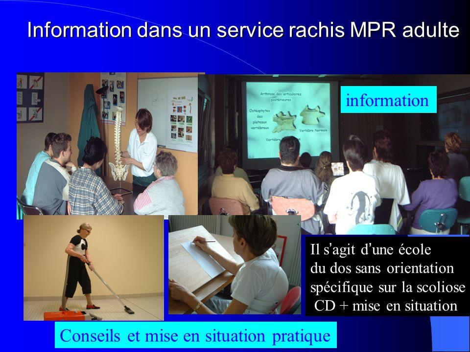 Information dans un service rachis MPR adulte information Conseils et mise en situation pratique Il s ' agit d ' une école du dos sans orientation spé