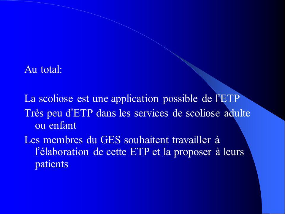 Au total: La scoliose est une application possible de l ' ETP Très peu d ' ETP dans les services de scoliose adulte ou enfant Les membres du GES souha