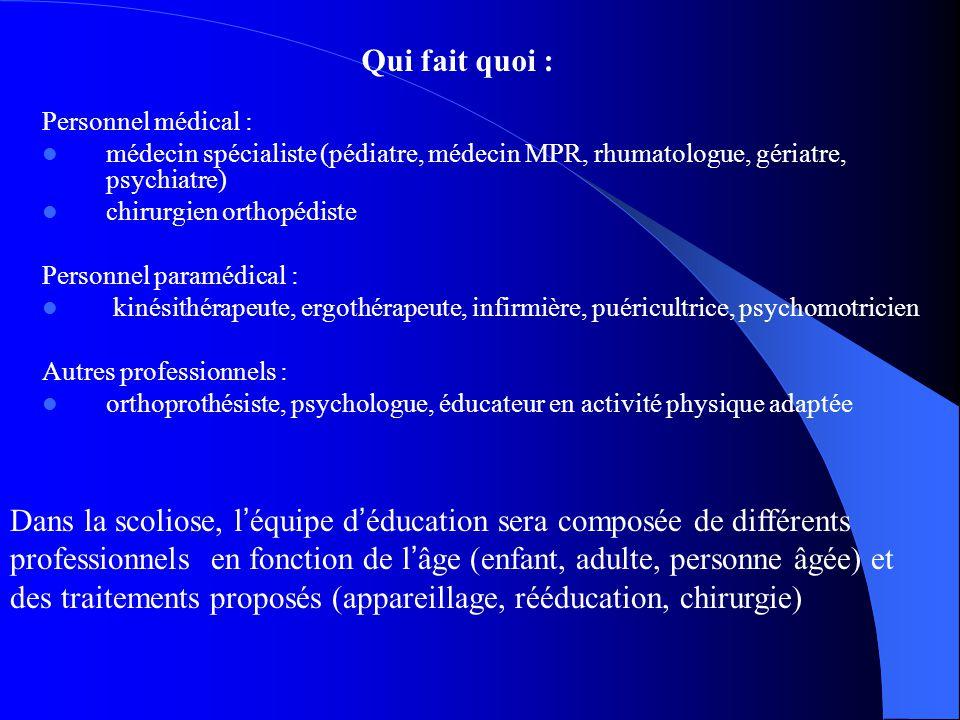 Personnel médical : médecin spécialiste (pédiatre, médecin MPR, rhumatologue, gériatre, psychiatre) chirurgien orthopédiste Personnel paramédical : ki