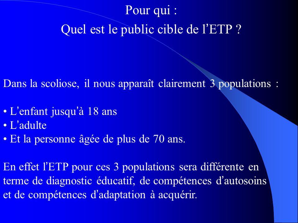 Pour qui : Quel est le public cible de l ' ETP ? Dans la scoliose, il nous apparaît clairement 3 populations : L ' enfant jusqu ' à 18 ans L ' adulte