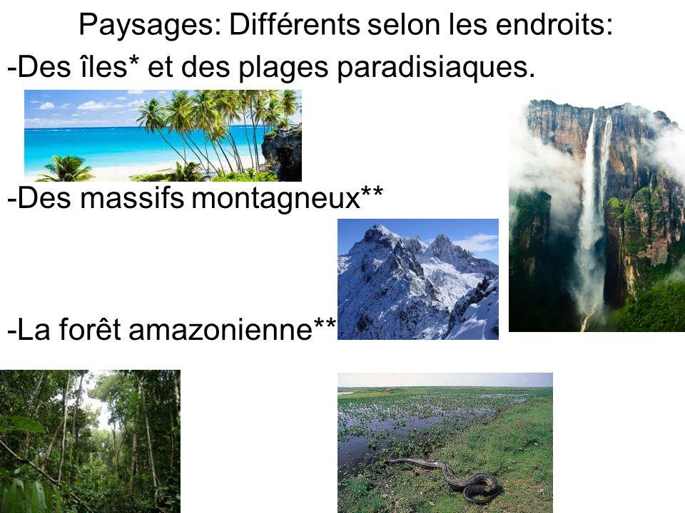 Paysages: Différents selon les endroits: -Des îles* et des plages paradisiaques.