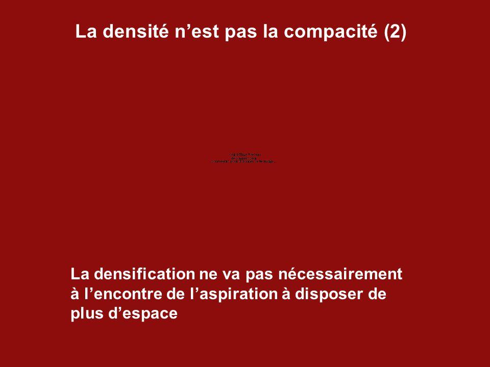 La densité n'est pas la compacité (2) La densification ne va pas nécessairement à l'encontre de l'aspiration à disposer de plus d'espace