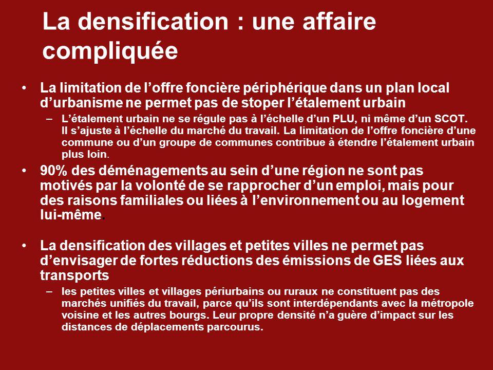La densification : une affaire compliquée La limitation de l'offre foncière périphérique dans un plan local d'urbanisme ne permet pas de stoper l'étalement urbain –L'étalement urbain ne se régule pas à l'échelle d'un PLU, ni même d'un SCOT.