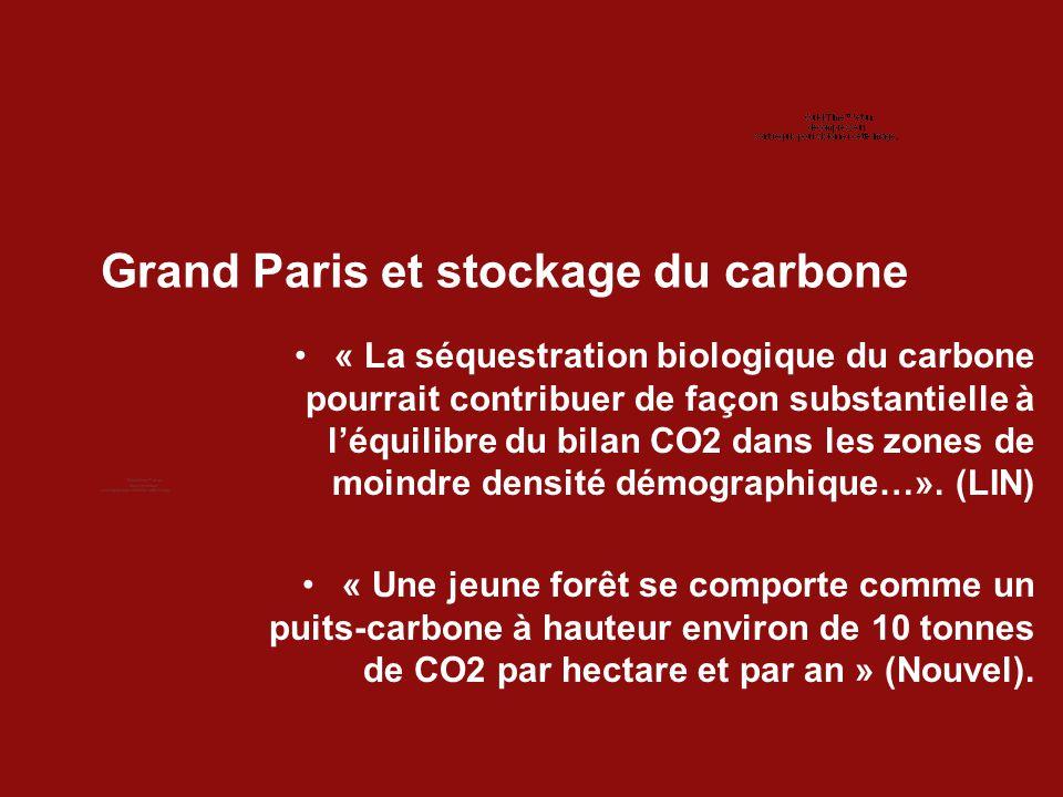 Grand Paris et stockage du carbone « La séquestration biologique du carbone pourrait contribuer de façon substantielle à l'équilibre du bilan CO2 dans les zones de moindre densité démographique…».