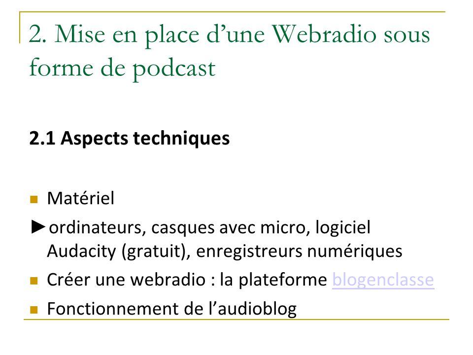 2. Mise en place d'une Webradio sous forme de podcast 2.1 Aspects techniques Matériel ► ordinateurs, casques avec micro, logiciel Audacity (gratuit),