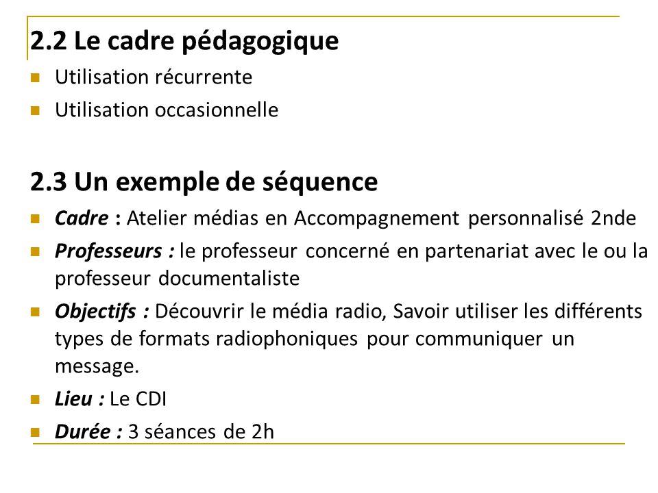 2.2 Le cadre pédagogique Utilisation récurrente Utilisation occasionnelle 2.3 Un exemple de séquence Cadre : Atelier médias en Accompagnement personna
