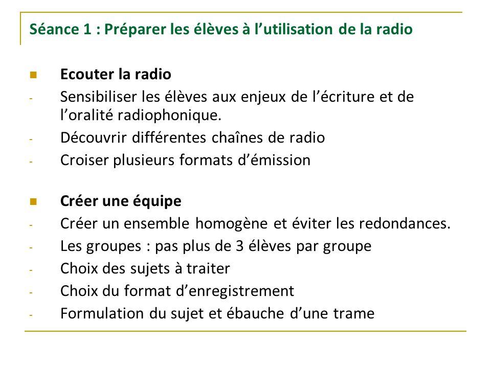 Séance 1 : Préparer les élèves à l'utilisation de la radio Ecouter la radio - Sensibiliser les élèves aux enjeux de l'écriture et de l'oralité radioph