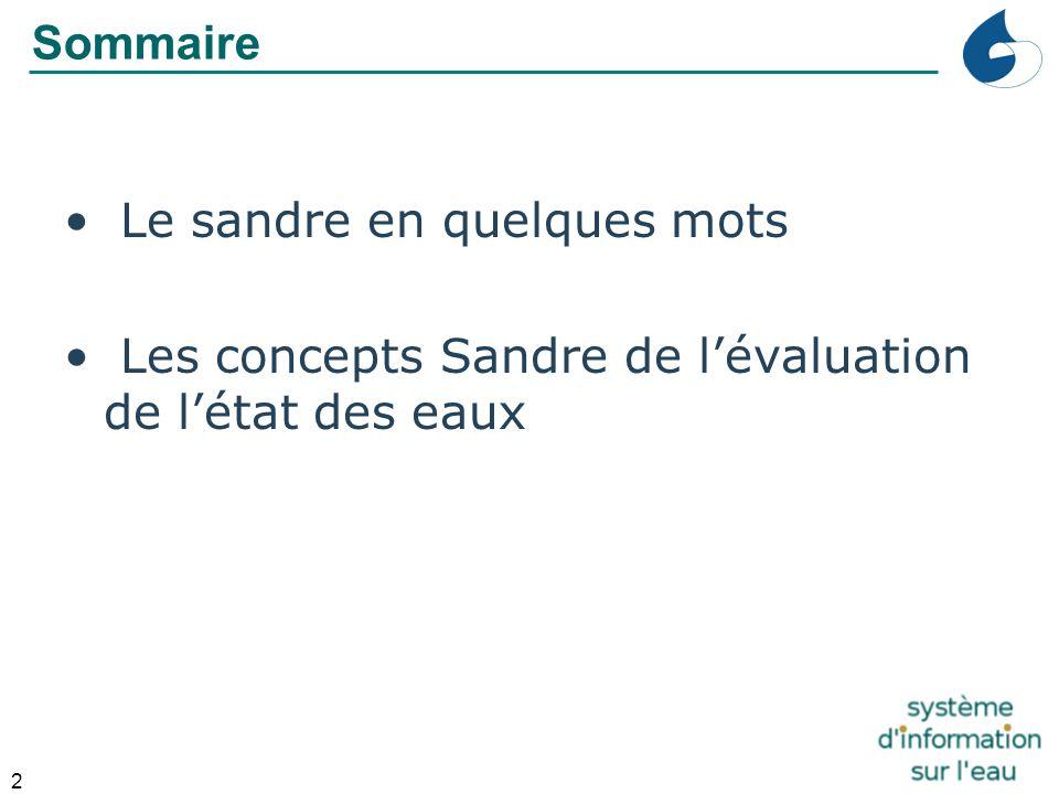 2 Sommaire Le sandre en quelques mots Les concepts Sandre de l'évaluation de l'état des eaux