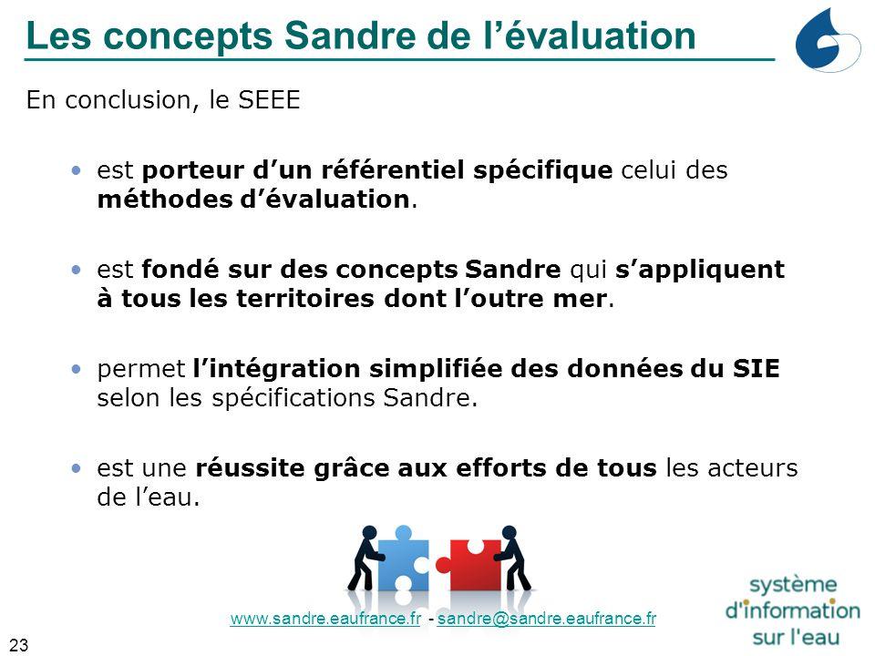 23 En conclusion, le SEEE est porteur d'un référentiel spécifique celui des méthodes d'évaluation. est fondé sur des concepts Sandre qui s'appliquent