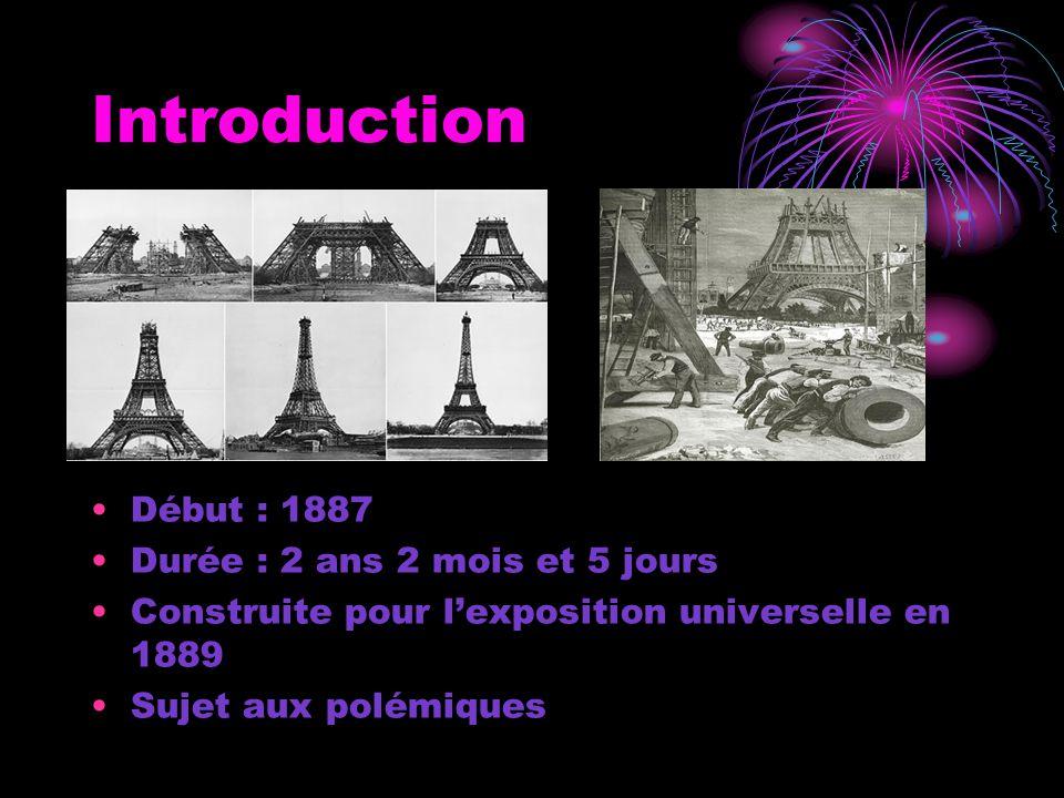 Introduction Début : 1887 Durée : 2 ans 2 mois et 5 jours Construite pour l'exposition universelle en 1889 Sujet aux polémiques