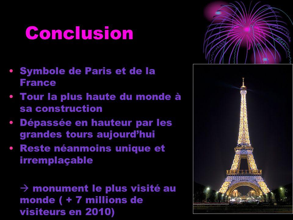 Conclusion Symbole de Paris et de la France Tour la plus haute du monde à sa construction Dépassée en hauteur par les grandes tours aujourd'hui Reste néanmoins unique et irremplaçable  monument le plus visité au monde ( + 7 millions de visiteurs en 2010)