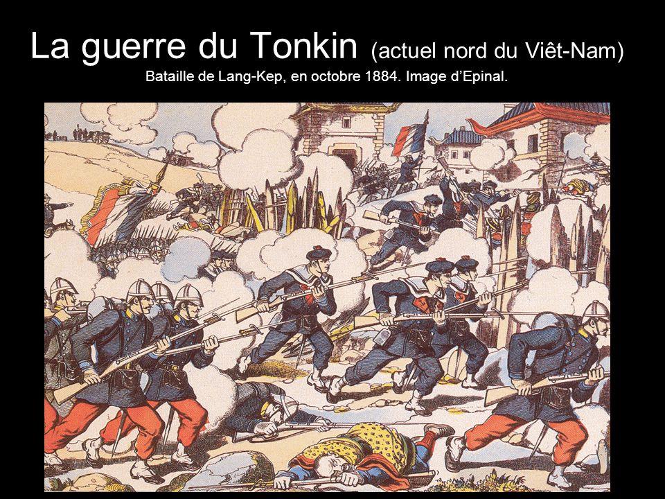 La guerre du Tonkin (actuel nord du Viêt-Nam) Bataille de Lang-Kep, en octobre 1884. Image d'Epinal.