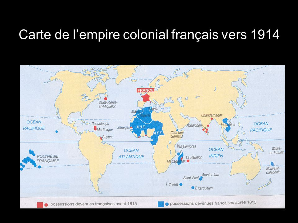 Carte de l'empire colonial français vers 1914