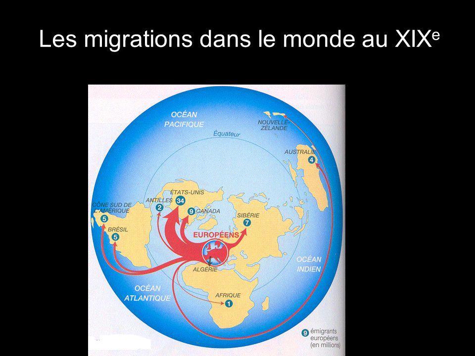 Les migrations dans le monde au XIX e