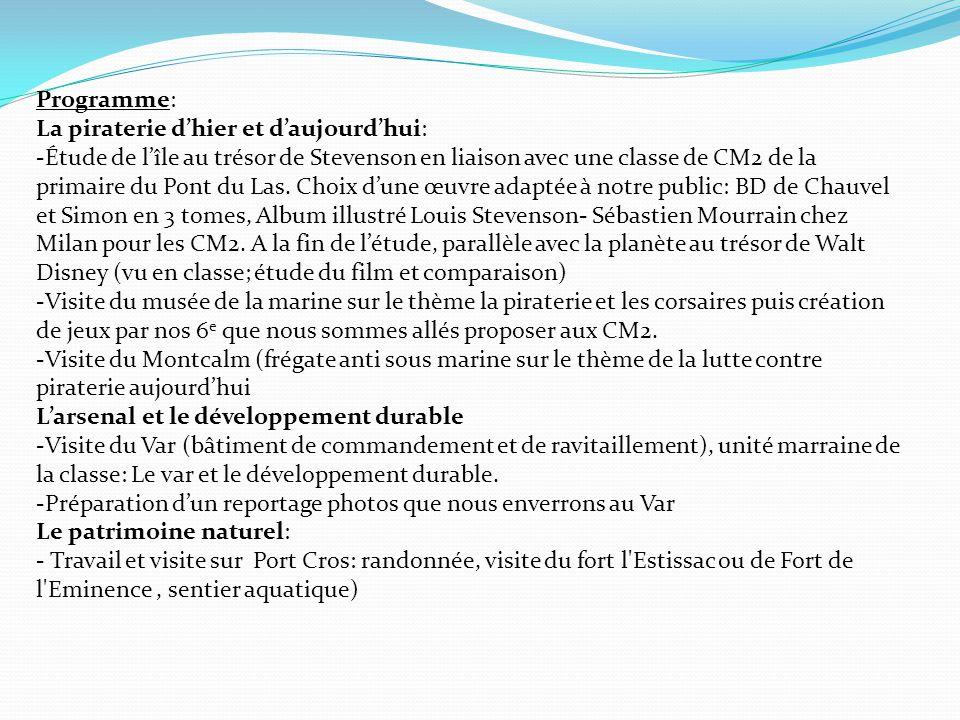 Programme: La piraterie d'hier et d'aujourd'hui: -Étude de l'île au trésor de Stevenson en liaison avec une classe de CM2 de la primaire du Pont du La