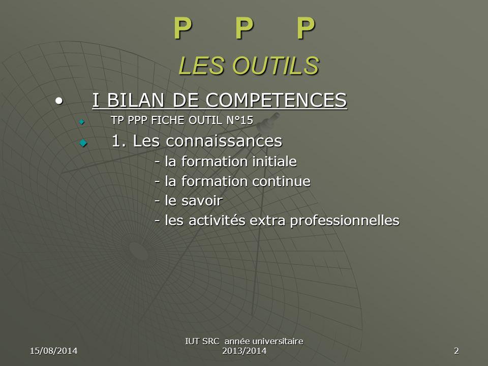 15/08/2014 IUT SRC année universitaire 2013/2014 3 P P P LES OUTILS  2.