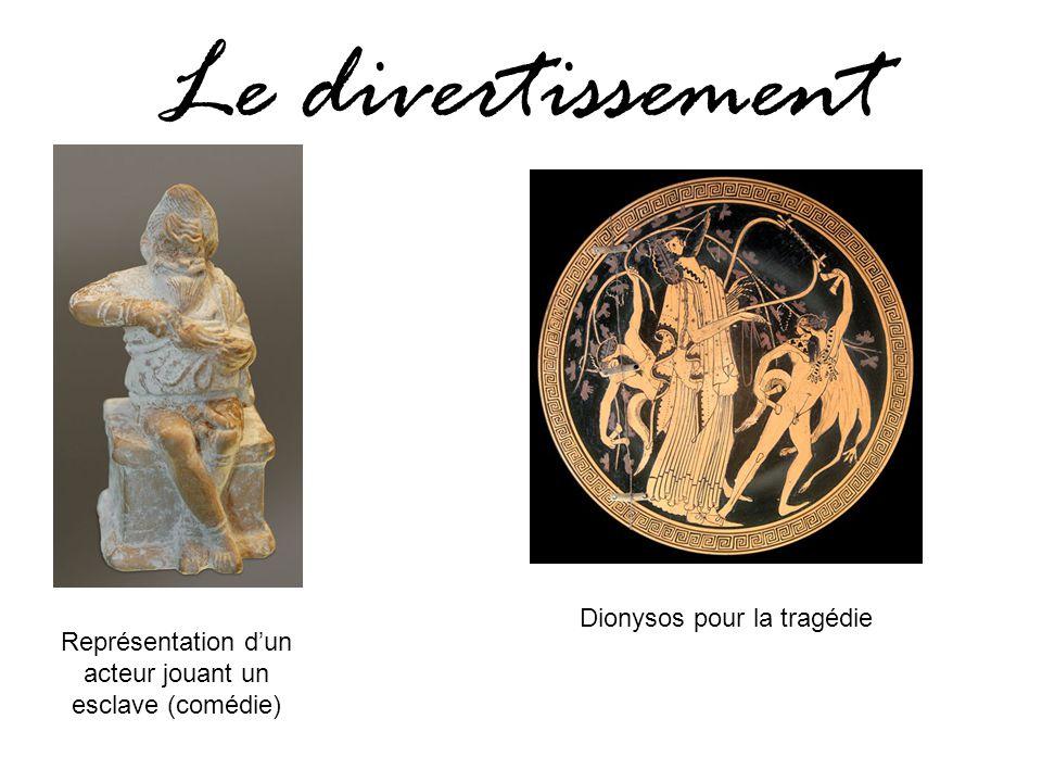 Le divertissement Représentation d'un acteur jouant un esclave (comédie) Dionysos pour la tragédie