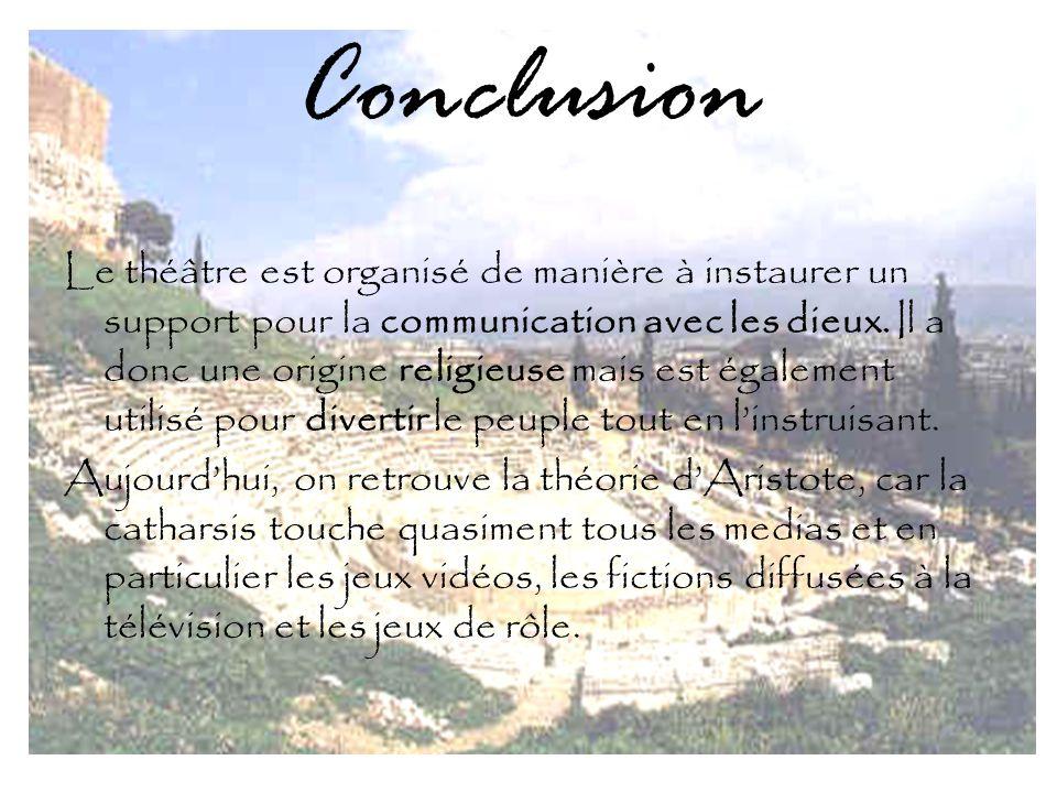 Conclusion Le théâtre est organisé de manière à instaurer un support pour la communication avec les dieux.