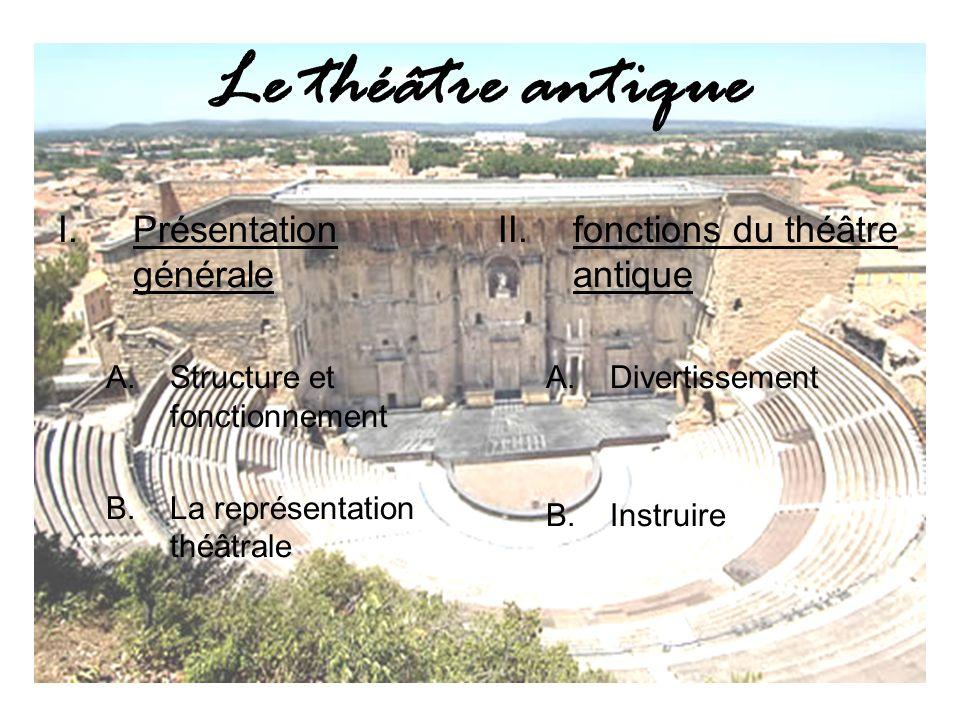 Le théâtre antique I.Présentation générale A.Structure et fonctionnement B.La représentation théâtrale II.fonctions du théâtre antique A.Divertissement B.Instruire