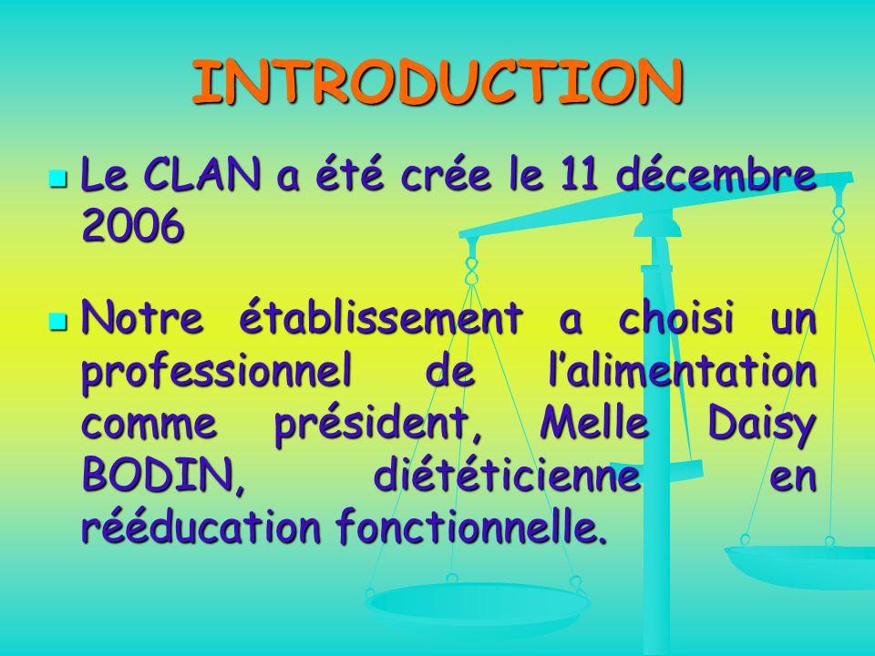 INTRODUCTION Le CLAN a été crée le 11 décembre 2006 Le CLAN a été crée le 11 décembre 2006 Notre établissement a choisi un professionnel de l'alimentation comme président, Melle Daisy BODIN, diététicienne en rééducation fonctionnelle.