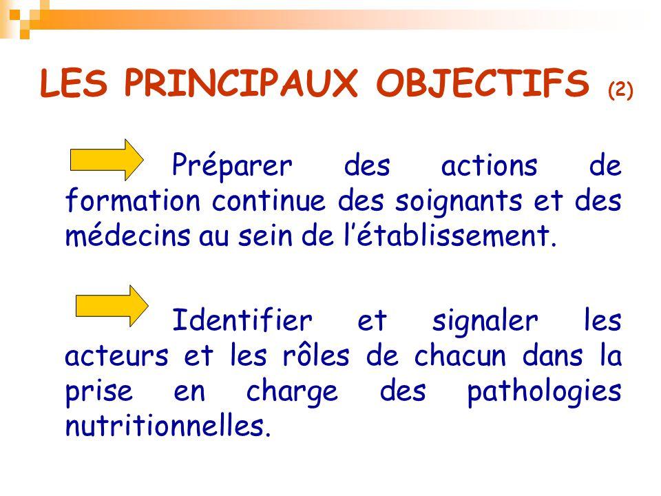 LES PRINCIPAUX OBJECTIFS (2) Préparer des actions de formation continue des soignants et des médecins au sein de l'établissement. Identifier et signal