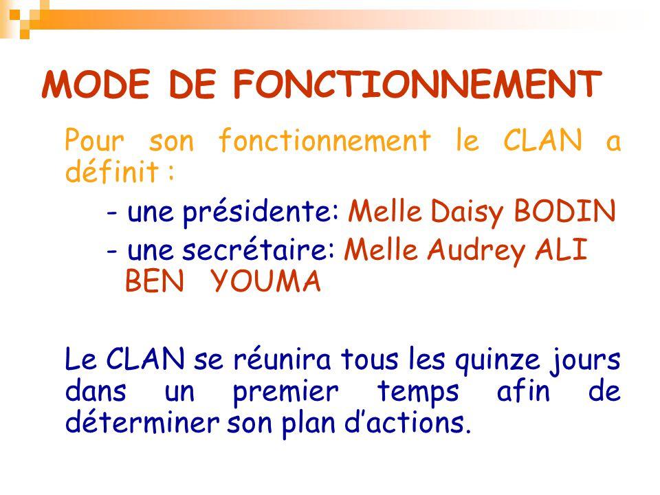 MODE DE FONCTIONNEMENT Pour son fonctionnement le CLAN a définit : - une présidente: Melle Daisy BODIN - une secrétaire: Melle Audrey ALI BEN YOUMA Le