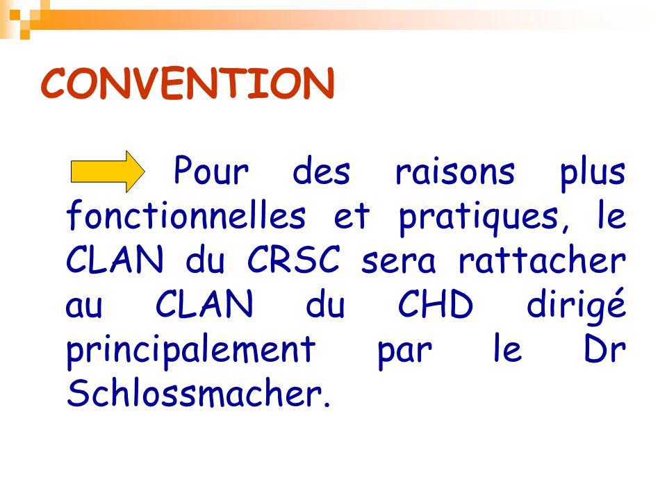 CONVENTION Pour des raisons plus fonctionnelles et pratiques, le CLAN du CRSC sera rattacher au CLAN du CHD dirigé principalement par le Dr Schlossmac