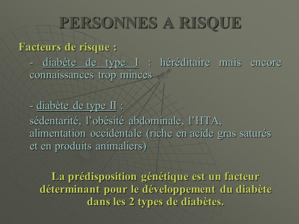 PERSONNES A RISQUE Facteurs de risque : - diabète de type I : héréditaire mais encore connaissances trop minces - diabète de type II : sédentarité, l'