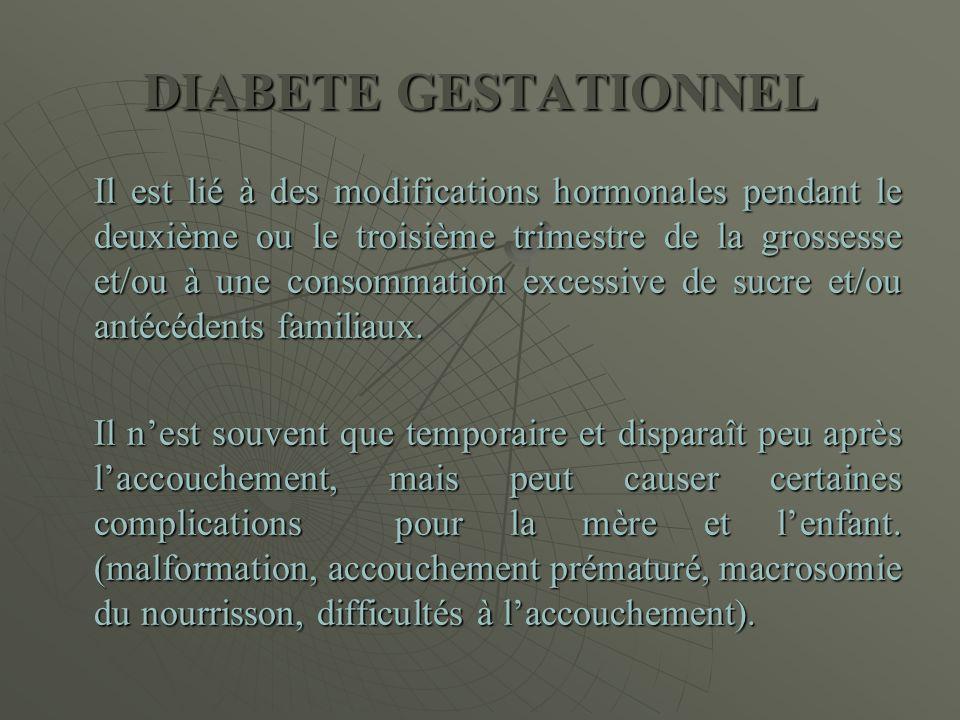 DIABETE GESTATIONNEL Il est lié à des modifications hormonales pendant le deuxième ou le troisième trimestre de la grossesse et/ou à une consommation
