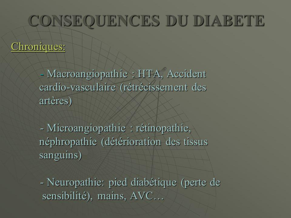 CONSEQUENCES DU DIABETE Chroniques: - Macroangiopathie : HTA, Accident cardio-vasculaire (rétrécissement des cardio-vasculaire (rétrécissement des art