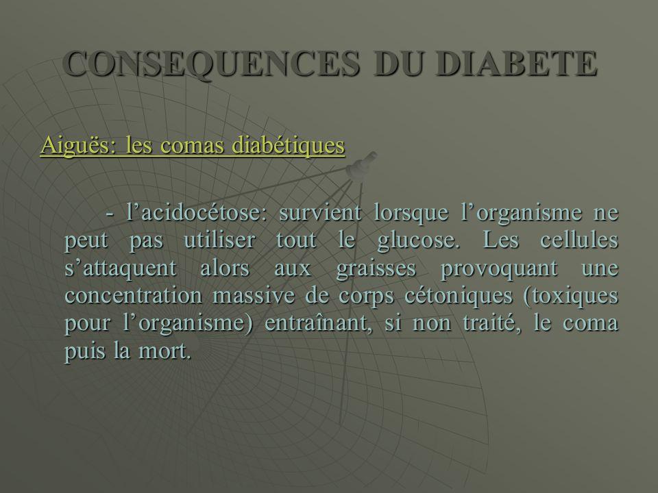 CONSEQUENCES DU DIABETE Aiguës: les comas diabétiques - l'acidocétose: survient lorsque l'organisme ne peut pas utiliser tout le glucose. Les cellules