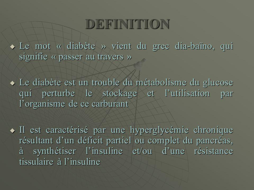 DEFINITION  Le mot « diabète » vient du grec dia-baïno, qui signifie « passer au travers »  Le diabète est un trouble du métabolisme du glucose qui