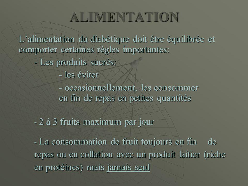ALIMENTATION L'alimentation du diabétique doit être équilibrée et comporter certaines règles importantes: - Les produits sucrés: - les éviter - occasi