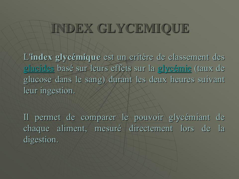 INDEX GLYCEMIQUE L'index glycémique est un critère de classement des glucides basé sur leurs effets sur la glycémie (taux de glucose dans le sang) dur
