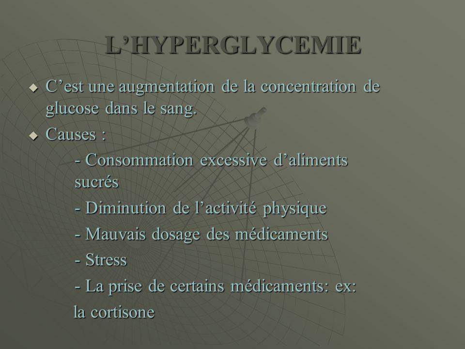 L'HYPERGLYCEMIE  C'est une augmentation de la concentration de glucose dans le sang.  Causes : - Consommation excessive d'aliments sucrés - Diminuti