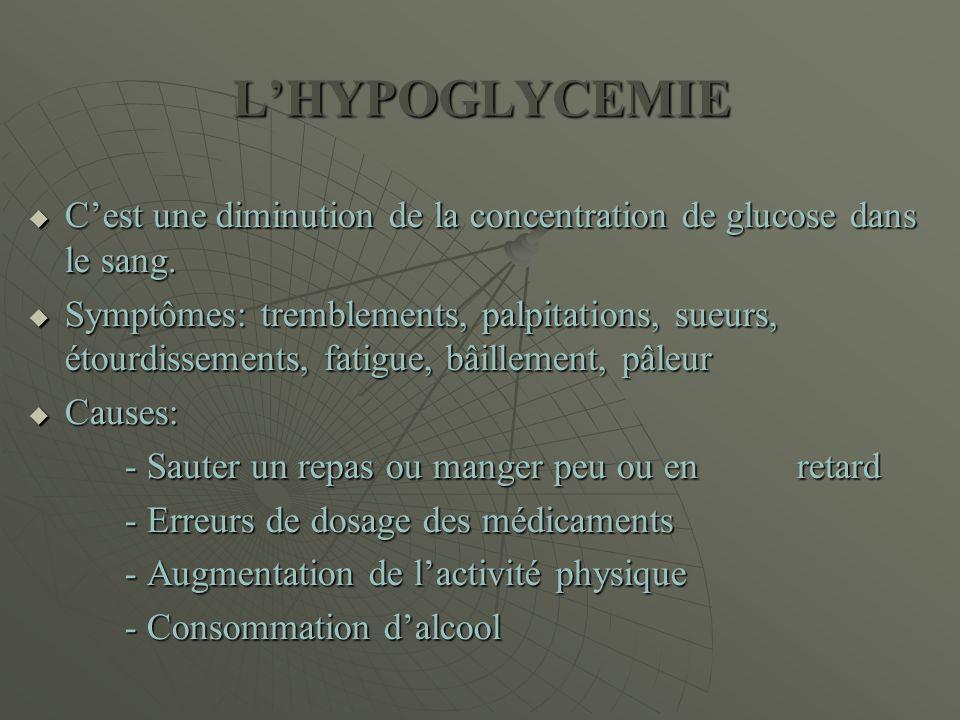 L'HYPOGLYCEMIE  C'est une diminution de la concentration de glucose dans le sang.  Symptômes: tremblements, palpitations, sueurs, étourdissements, f