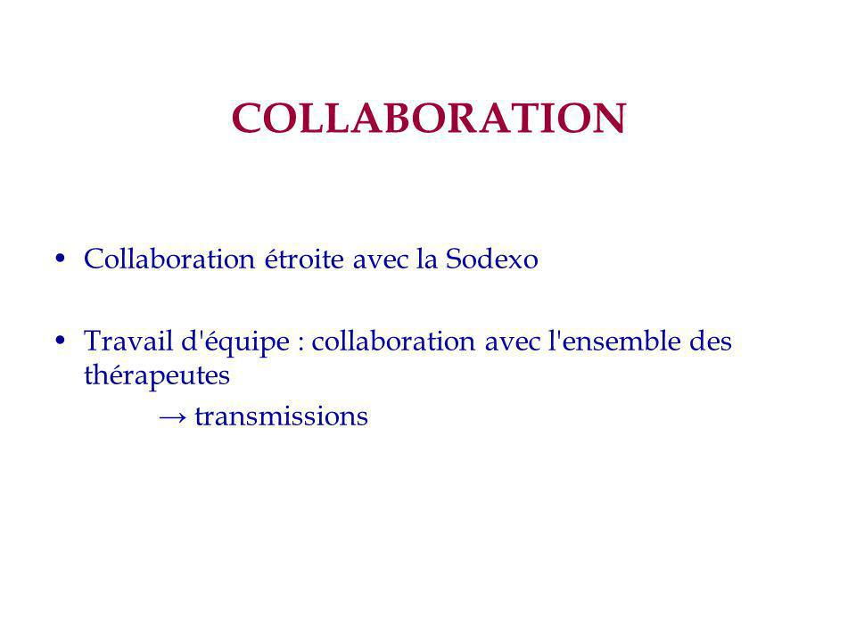 COLLABORATION Collaboration étroite avec la Sodexo Travail d'équipe : collaboration avec l'ensemble des thérapeutes → transmissions