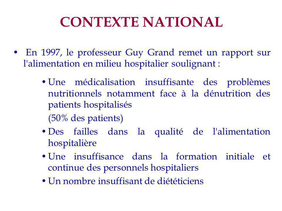 CONTEXTE NATIONAL En 1997, le professeur Guy Grand remet un rapport sur l'alimentation en milieu hospitalier soulignant : Une médicalisation insuffisa